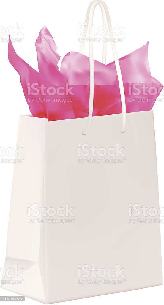 Shopping Bag With Pink Paper vector art illustration