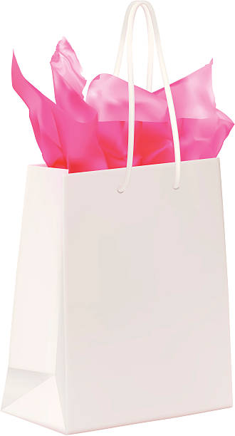 illustrazioni stock, clip art, cartoni animati e icone di tendenza di shopping bag con carta rosa - carta velina
