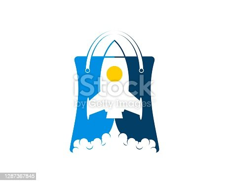 istock Shopping bag with rocket inside 1287367845