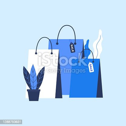 istock Shopping Bag with sale tag in flat style. 1288753631