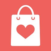 Shopping bag with shape of the heart icon. Vector Flat Illustration EPS10