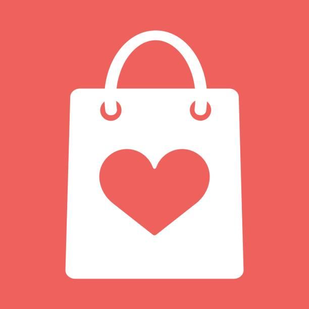 ilustrações, clipart, desenhos animados e ícones de saco de compra com a forma do ícone do coração - dia do cliente
