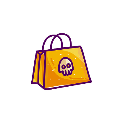 Shopping bag with skull for Halloween