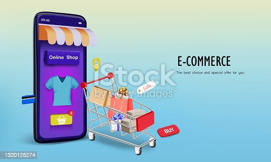 istock Shopping bag with smartphone 1320125274