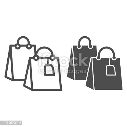 istock Shopping bag with tag line and solid icon, shopping concept, two shopping bag sign on white background, Packages icon in outline style for mobile concept and web design. Vector graphics. 1251623216