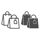 Shopping bag with tag line and solid icon, shopping concept, two shopping bag sign on white background, Packages icon in outline style for mobile concept and web design. Vector graphics