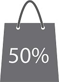 shopping bag with the sale, 50 percent. discount symbol.