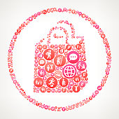 Shopping Bag  Women Girl Power Icons Vector Background