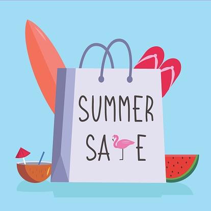 Shopping bag written Summer Sale vector concept