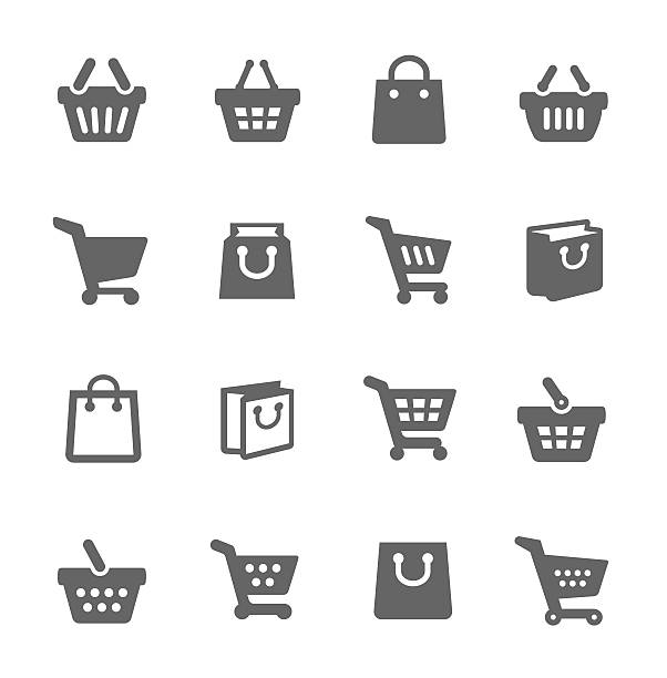 Shopping Bags and Carts vector art illustration
