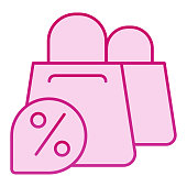 Shopping bags and discount flat icon. Promotion pink icons in trendy flat style. Shop sale gradient style design, designed for web and app. Eps 10
