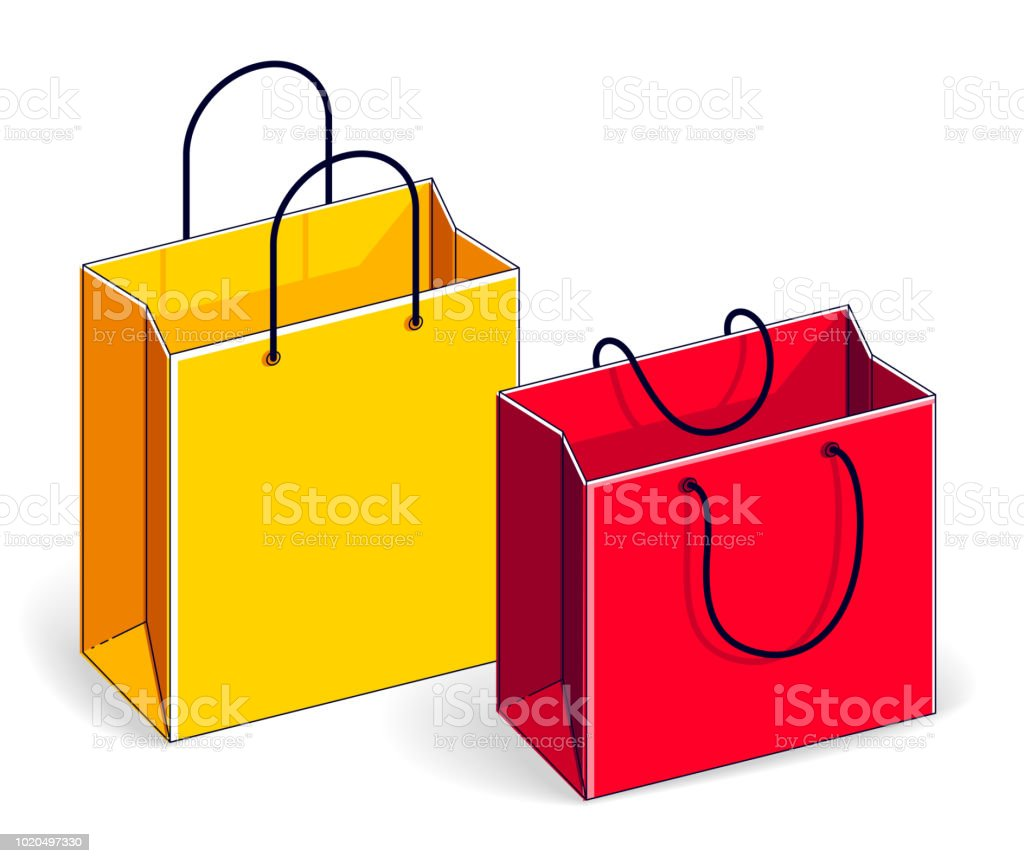 0852e14fac8 Shopping bags big sale, sellout, retail, Black Friday discount, eco paper  bag isolated on white background. Vector 3d isometric illustration, ...