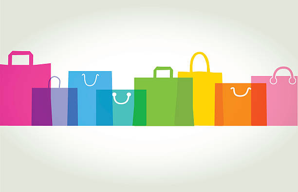 shopping bags - gift bags - shopping bags stock illustrations