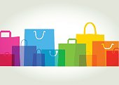 Colourful overlapping silhouettes of shopping bags. EPS10, CS5 version in zip