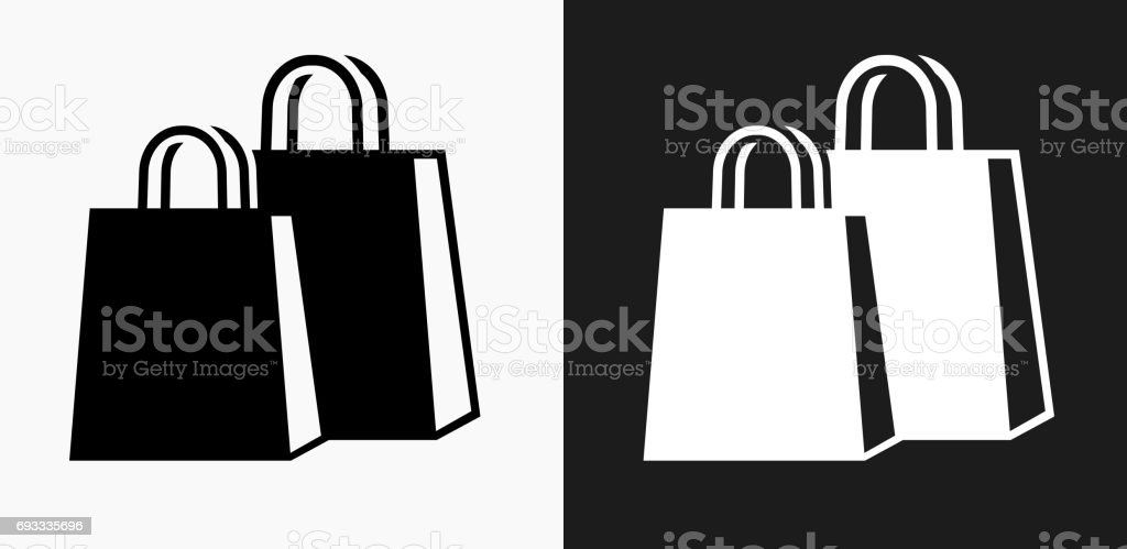 Shopping Bags Icon on Black and White Vector Backgrounds