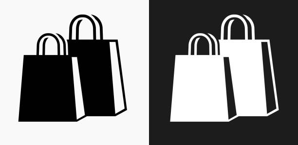 shopping bags icon on black and white vector backgrounds - kupować stock illustrations