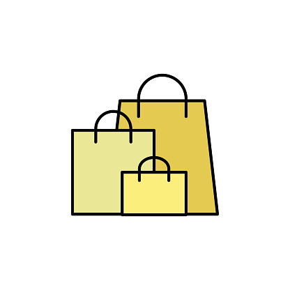 shopping, bags line icon. Elements of black friday and sales icon. Premium quality graphic design icon. Can be used for web, logo, mobile app, UI, UX on white background