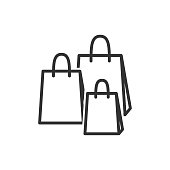 Shopping bags linear icon. Packages for purchase, present vector outline symbol. Eco paper bags thin line isolated illustration. Packets for gift shop, grocery, clothes boutique contour drawing