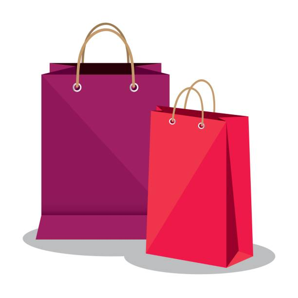 shopping bags market isolated icon - torba stock illustrations
