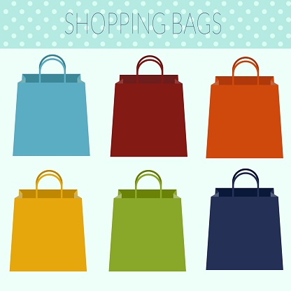 Shopping bags on white isolated background. Vector illustration