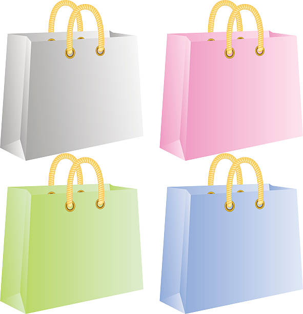Shopping bags Shopping bags, isolated on white, vector blue silhouettes stock illustrations