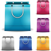 Shopping and gift bags isolated on white. EPS 10 file. Transparency used on highlight elements.