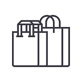 shopping bags vector line icon, sign, illustration on background, editable strokes