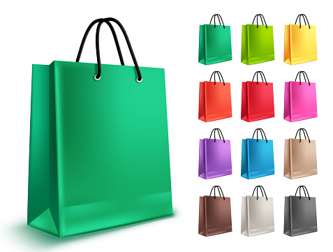 Shopping bags vector set. Empty paper bags with green and other colors isolated