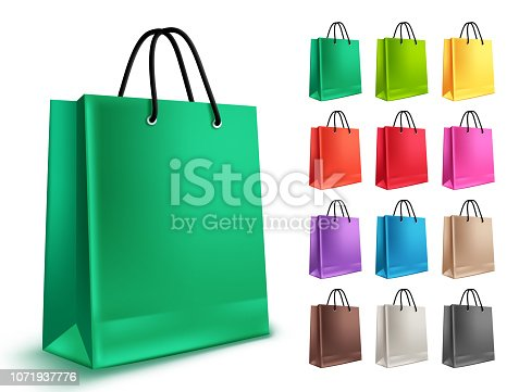 Shopping bags vector set. Empty paper bags with green and other colors isolated in white for shopping and market design elements. Vector illustration.