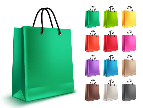 shopping bags vector set. empty paper bags with green and other colors isolated - shopping bags stock illustrations