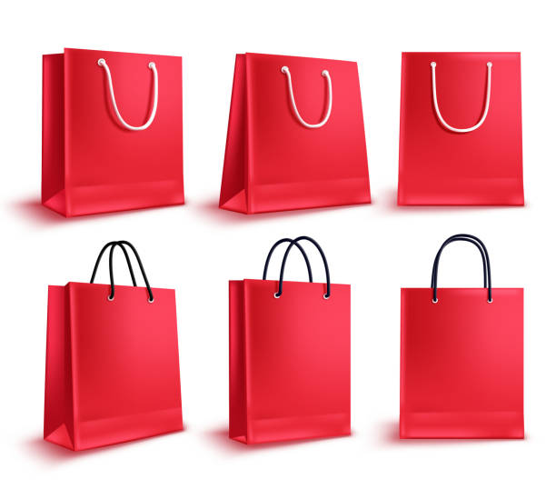 illustrazioni stock, clip art, cartoni animati e icone di tendenza di shopping bags vector set. red sale empty paper bags collection for fashion shopping - acquisti