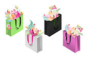 Shopping bags with flowers