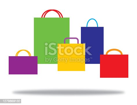 Vector illustration of five colorful shopping bags with a shadow beneath them.