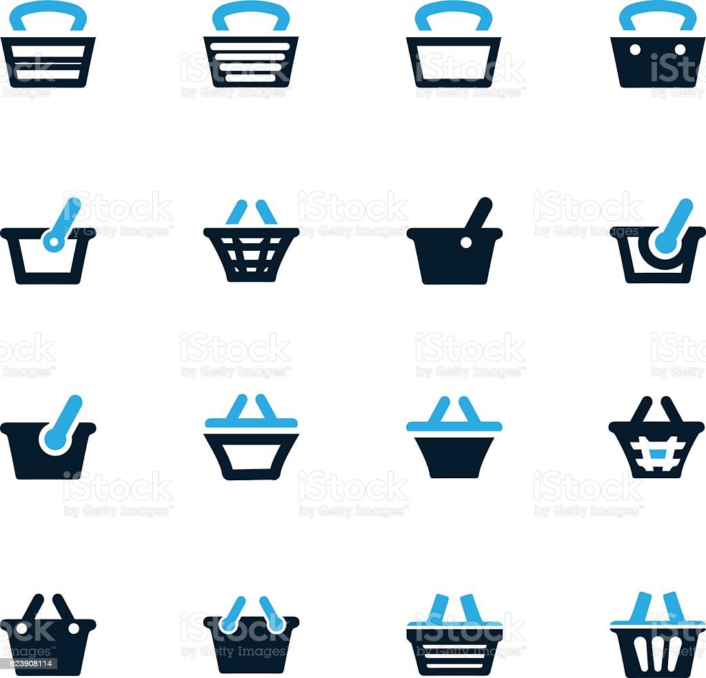 Shopping Bascket icons set vector art illustration