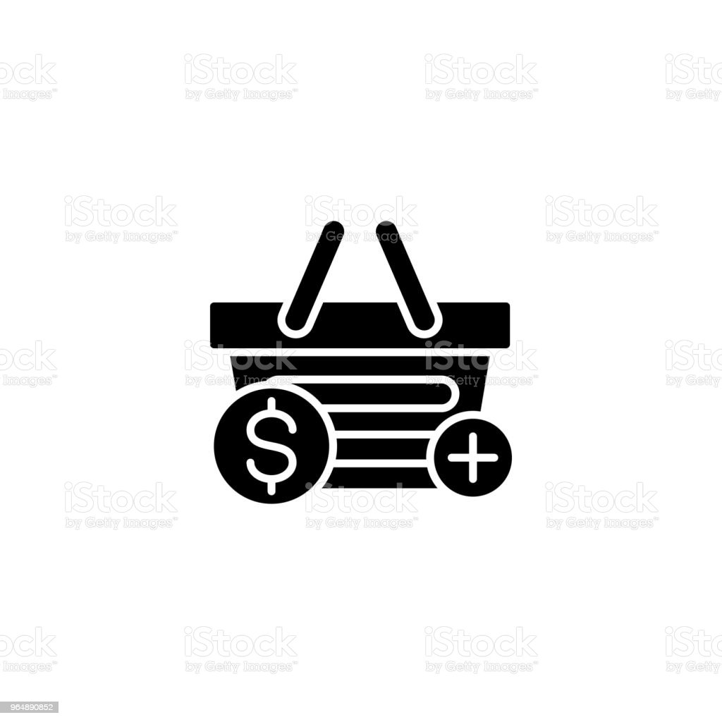 Shopping basket black icon concept. Shopping basket flat  vector symbol, sign, illustration. royalty-free shopping basket black icon concept shopping basket flat vector symbol sign illustration stock vector art & more images of no people