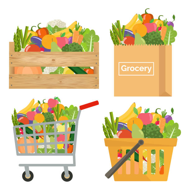 shopping basket, cart, crate and paper bag with vegetables and fruits. healthy lifestyle. - kosz stock illustrations
