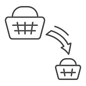 istock Shopping basket decrease thin line icon, economic sanctions concept, decline in purchasing power sign on white background, big and small consumer basket icon in outline style. Vector graphics. 1281552823