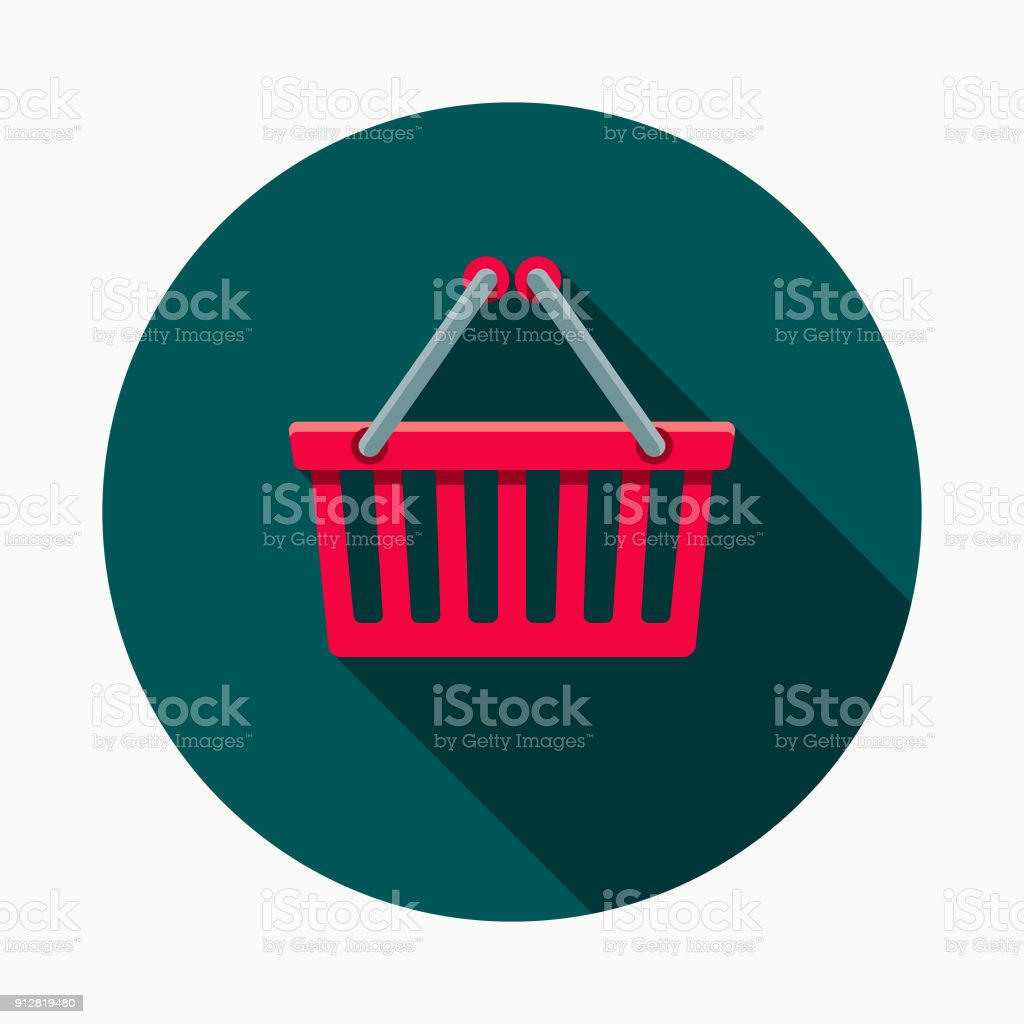 Shopping Basket Flat Design E-Commerce Icon vector art illustration