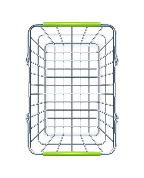 shopping basket for supermarket products. vector illustration. - kosz na zakupy stock illustrations