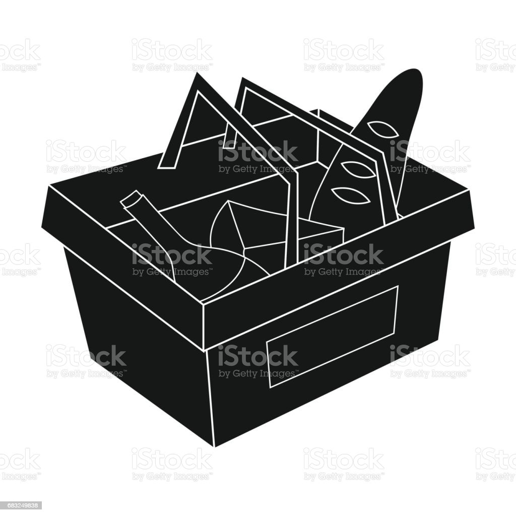 Shopping basket full of groceries icon in black style isolated on white background. Supermarket symbol stock vector illustration. royalty-free shopping basket full of groceries icon in black style isolated on white background supermarket symbol stock vector illustration 가득 찬에 대한 스톡 벡터 아트 및 기타 이미지
