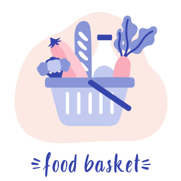 shopping basket full of healthy food. groceries products. fresh organic food and drinks. organic vegetables in basket. - kosz na zakupy stock illustrations