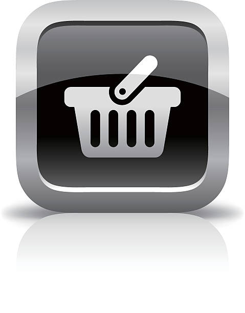 shopping basket glossy button icon - metallwarenkorb stock-grafiken, -clipart, -cartoons und -symbole