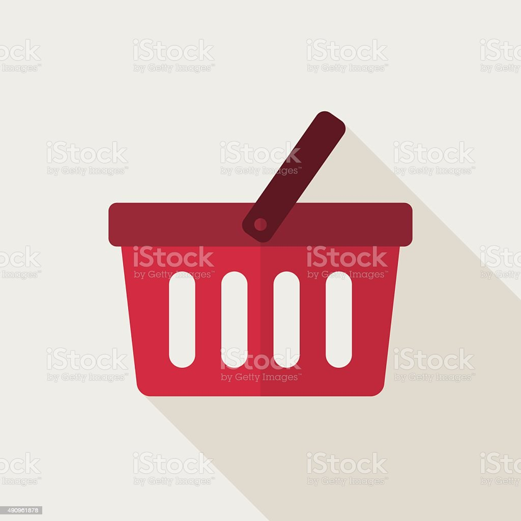 Shopping basket icon, modern minimal flat design style, vector illustration vector art illustration