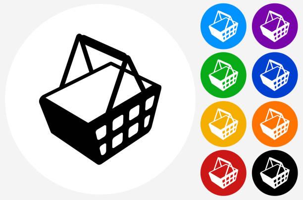 shopping basket icon on flat color circle buttons - kosz na zakupy stock illustrations