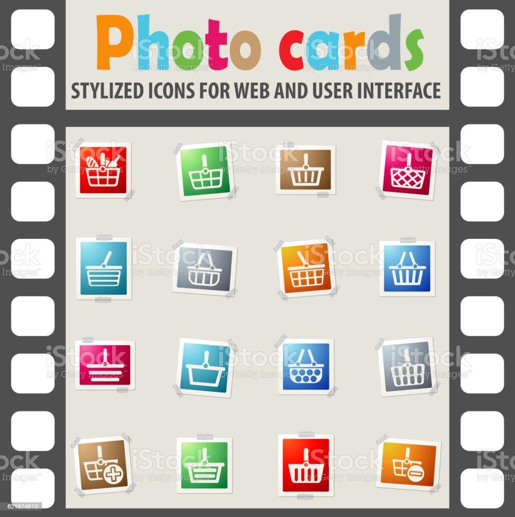 Ensemble d'icônes panier ensemble dicônes panier – cliparts vectoriels et plus d'images de acheter libre de droits