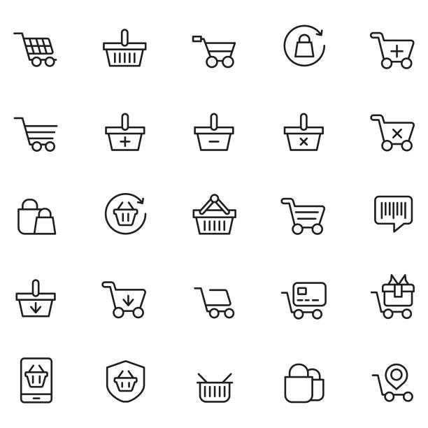 stockillustraties, clipart, cartoons en iconen met shopping mand pictogramserie - mand