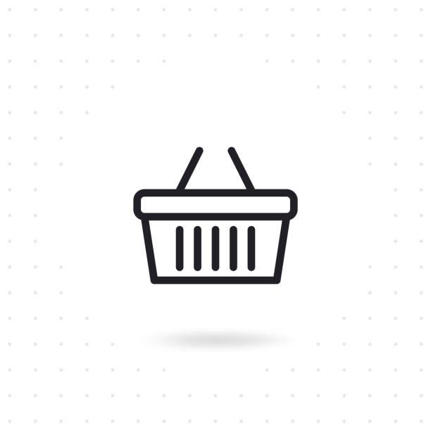 Shopping basket icon Shopping basket icon. Grocery shopping basket. Flat line vector illustration shopping basket stock illustrations