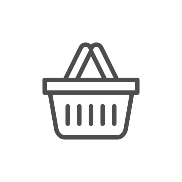 stockillustraties, clipart, cartoons en iconen met shopping mand lijn pictogram - mand