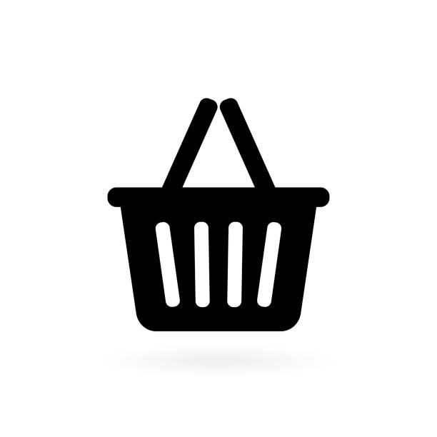 흰색 바탕에 쇼핑 바구니입니다. 벡터 일러스트 - 바구니 stock illustrations