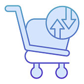 Shopping basket with arrows flat icon. Shopping trolley turnover vector illustration isolated on white. Market cart exchange gradient style design, designed for web and app. Eps10